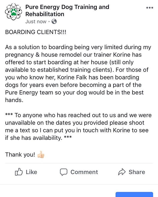Important for BOARDING CLIENTS!! 👍🏻👍🏻👍🏻 #PureEnergyDogTraining
