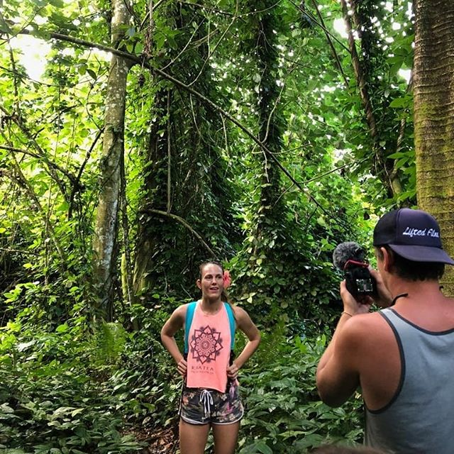 Big thanks to @tvaite for the awesome trek to the incredible #troiscascades !! We saw an eel! What an amazing place... #adventure #filming #documentary #film #director #waterfall #explore @airtahitinui  @mathildezampieri @liftedfilmsmedia