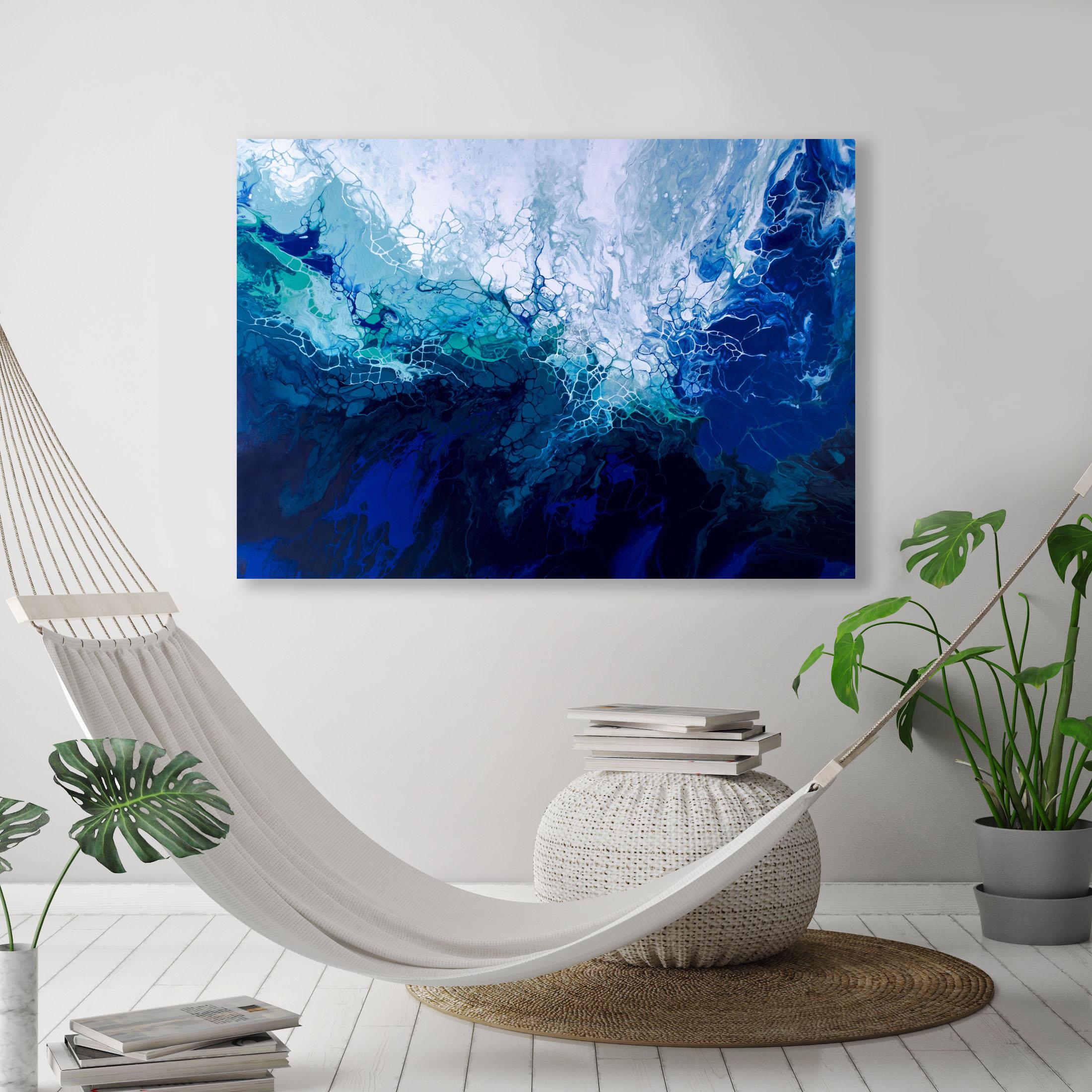 MAWU/ 2018/Fluid Acrylic and Atlantic Ocean Water / 36x48x1.25/ For Sale/    CONTACT BoJu Art