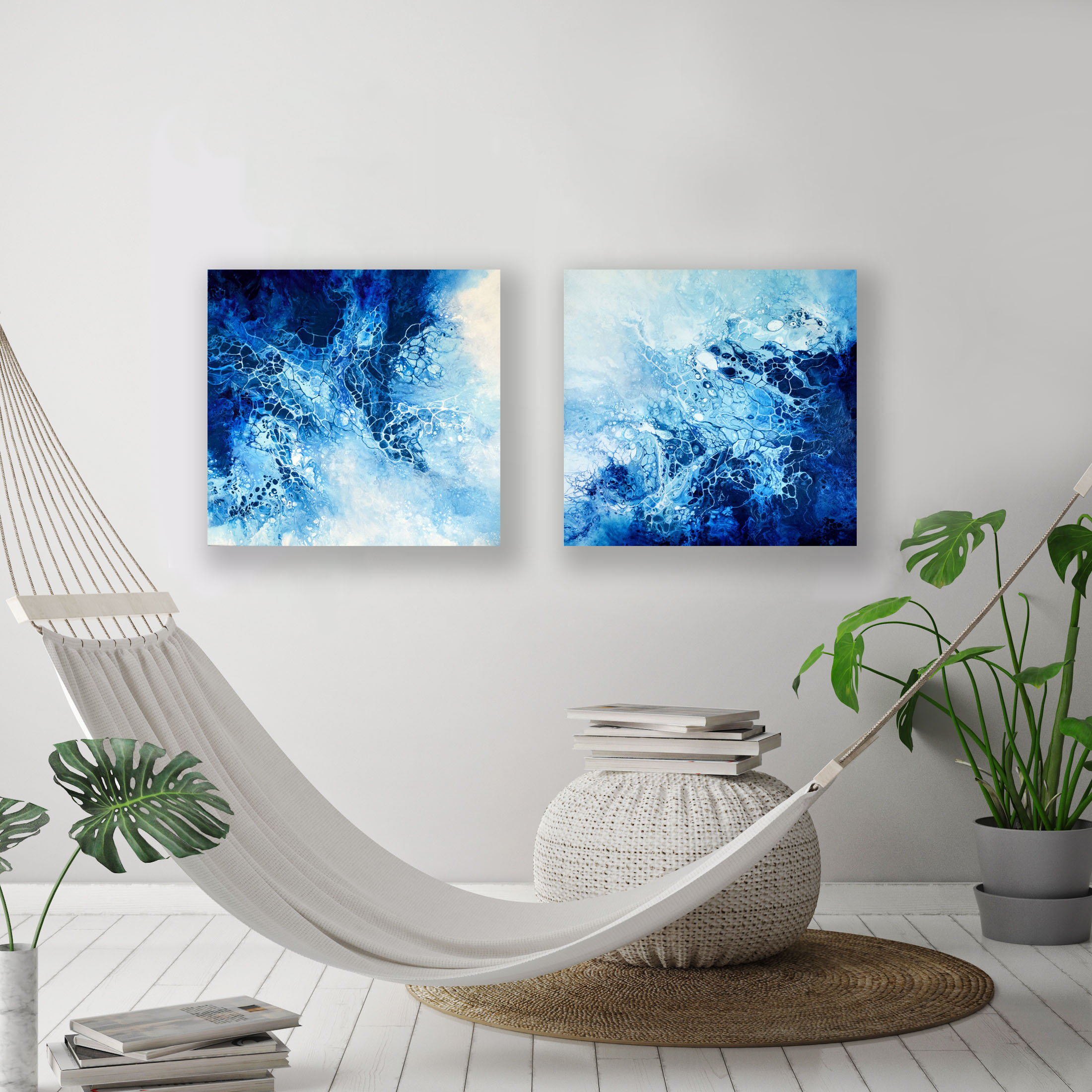 Oceans Between Us I & II/ 2018/ 24x24x1.25/Fluid Acrylic and Atlantic Ocean Water on Canvas/ Available in the UK/ SOLD
