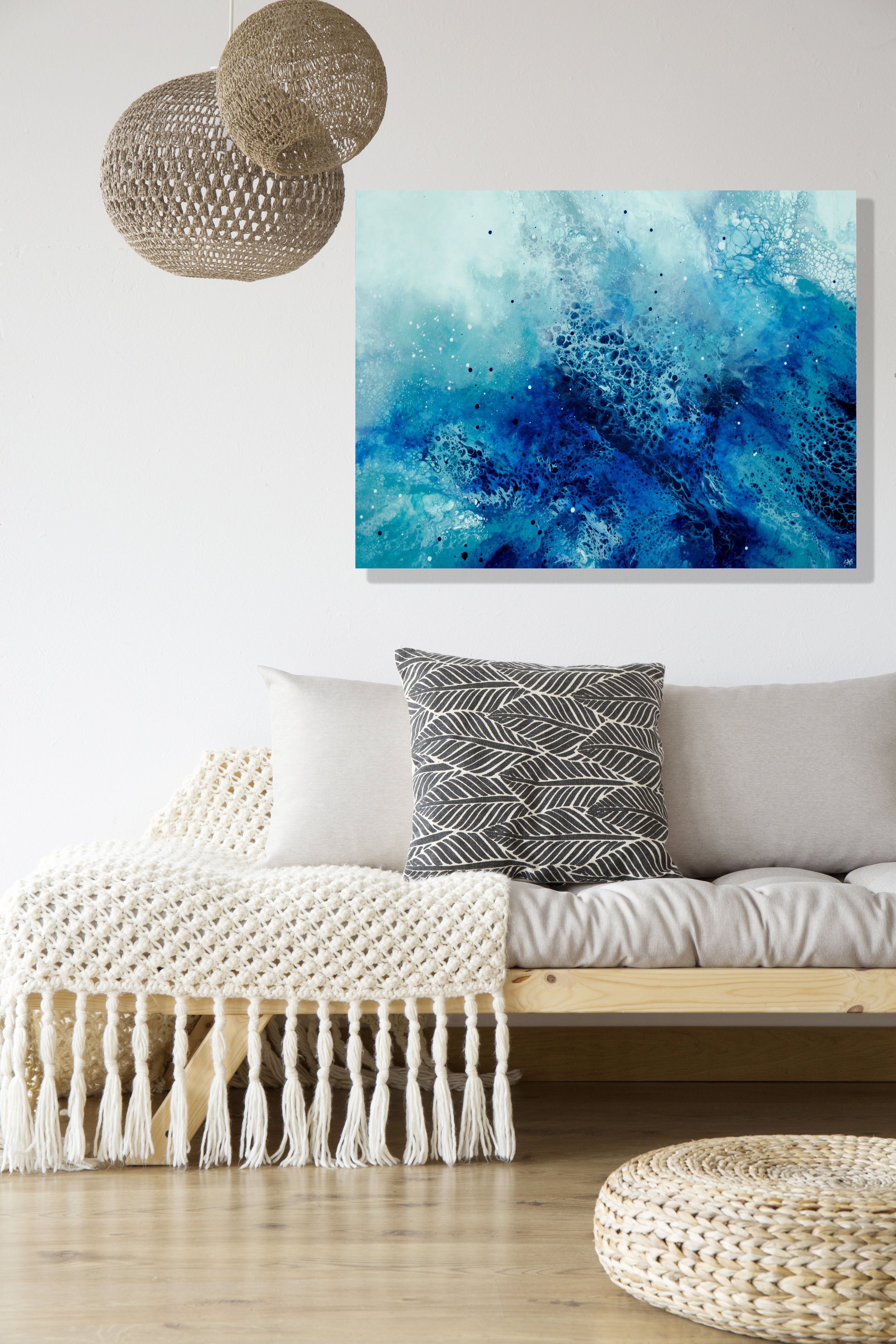 Zemyna/ 2019/ 24x36x1.25/Fluid Acrylic and Atlantic Ocean Water on Canvas/ for sale/     CONTACT LAGUNA ART GALLERY