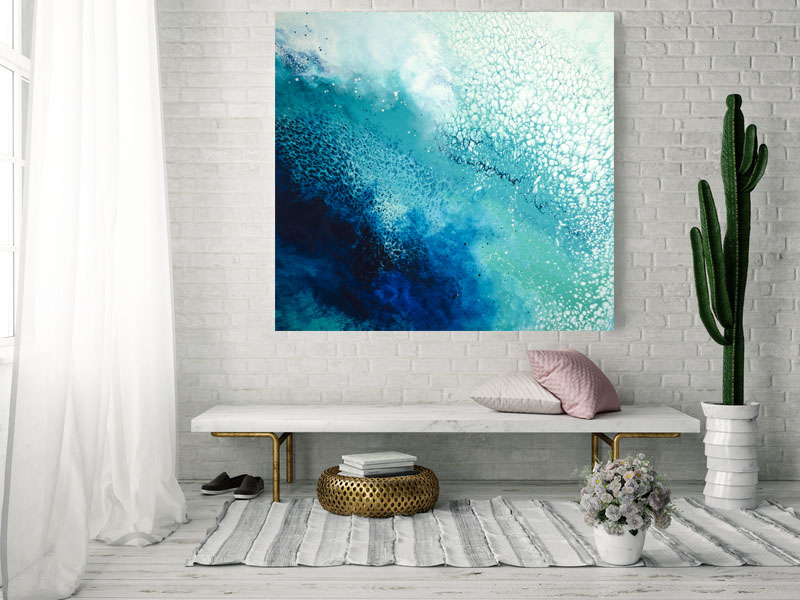 Euphoria/ 2019/ 48x48x1.25/Fluid Acrylic and Ocean Water from Turks and Caicos Islands on Canvas/ for sale/     CONTACT CROSSROADS ART CENTER