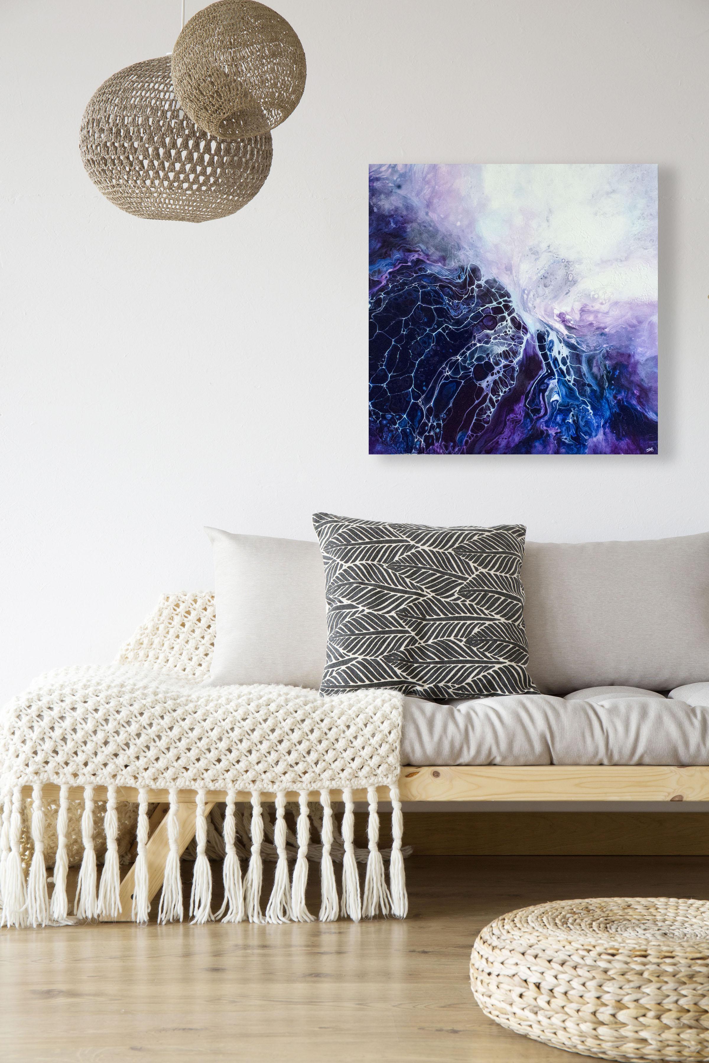 Mahina/ 2018/ 24x24x1.25/Fluid Acrylic and Atlantic Ocean Water on Canvas/ for sale/     CONTACT   CROSSROADS ART CENTER   /