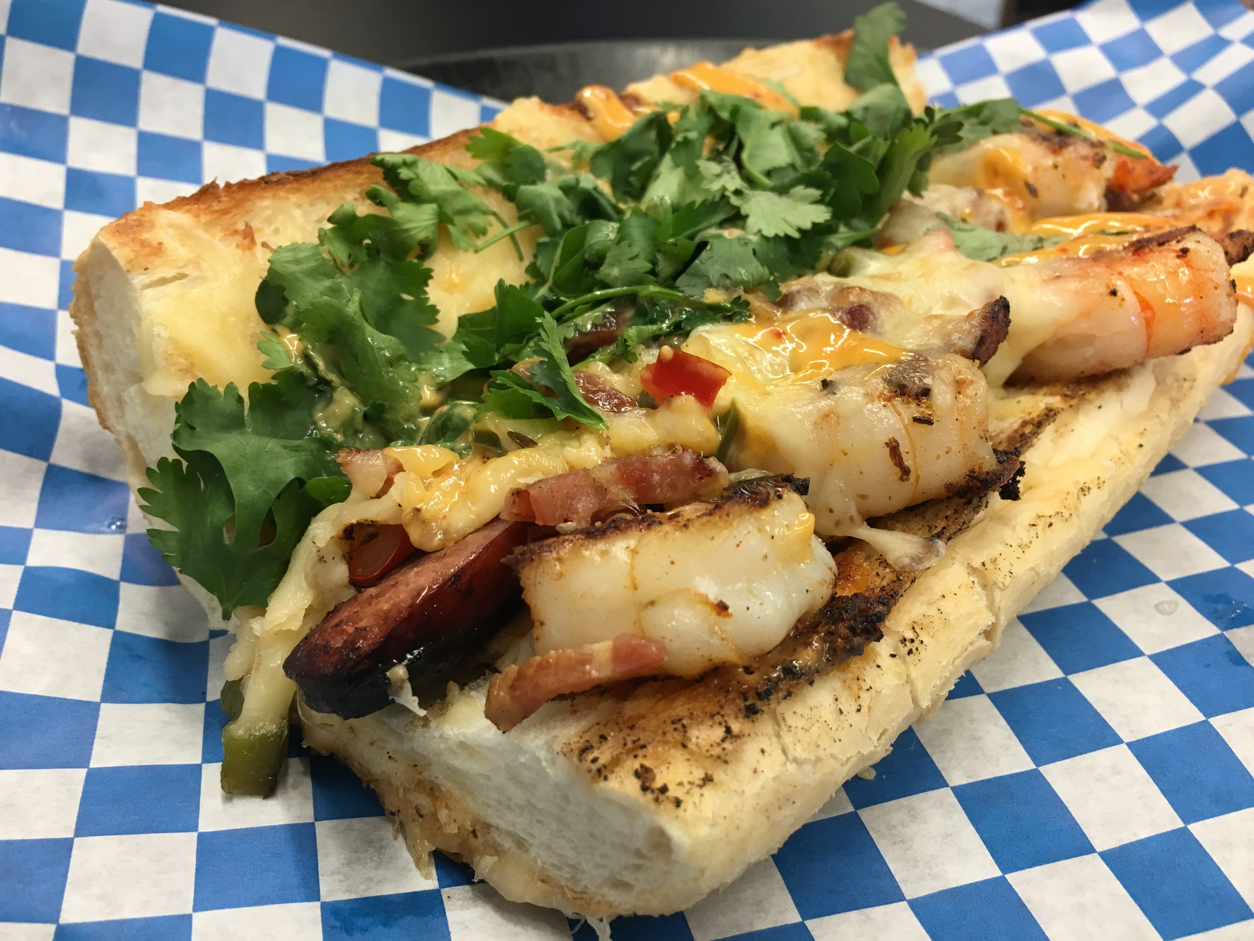 """The Chum"" Signature Sandwich with Cajun Shrimp & Andouille Sausage"