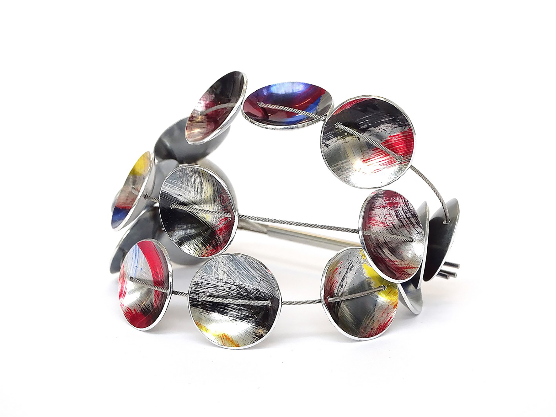 """Flex Bracelet"" steel with anodised aluminium discs, fits all."