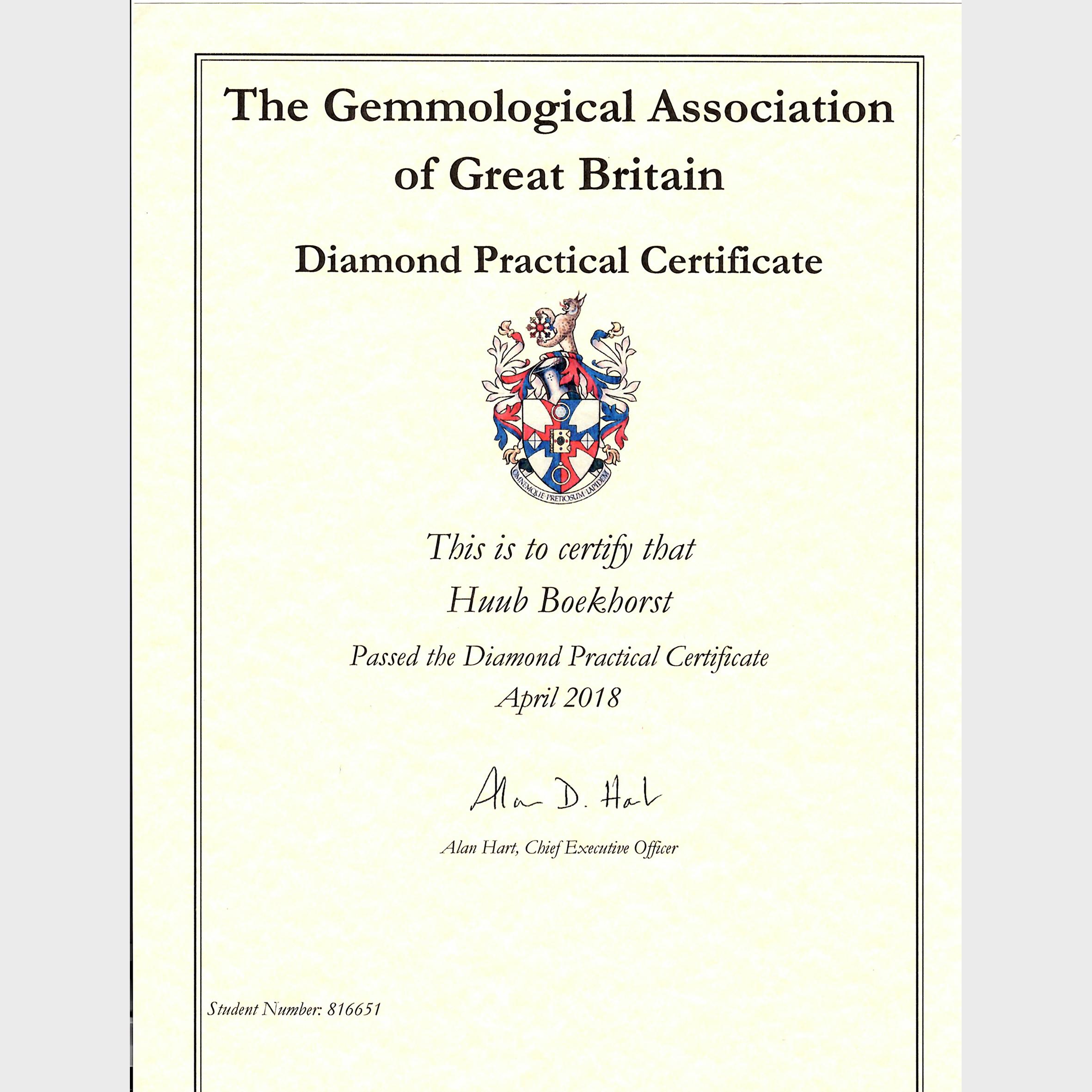 Gem-A Diamond Grading Certificate