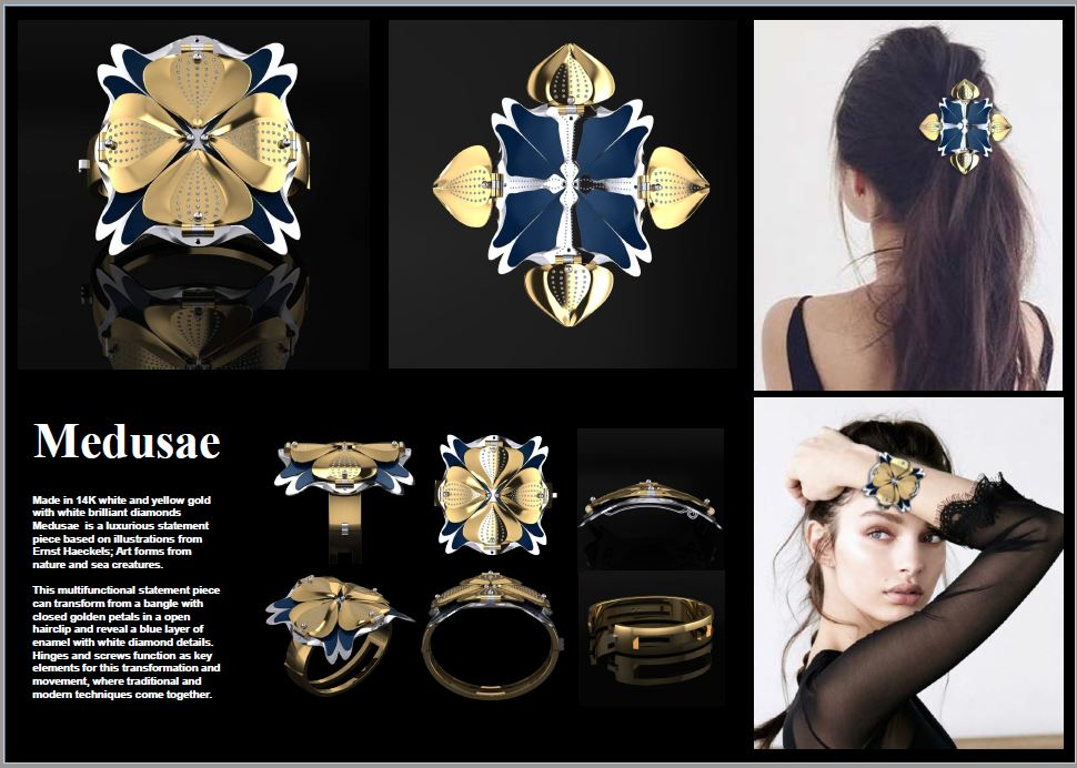 Medusae, multi purpose jewellery designed for Goldsmiths Craft and Design Council awards.