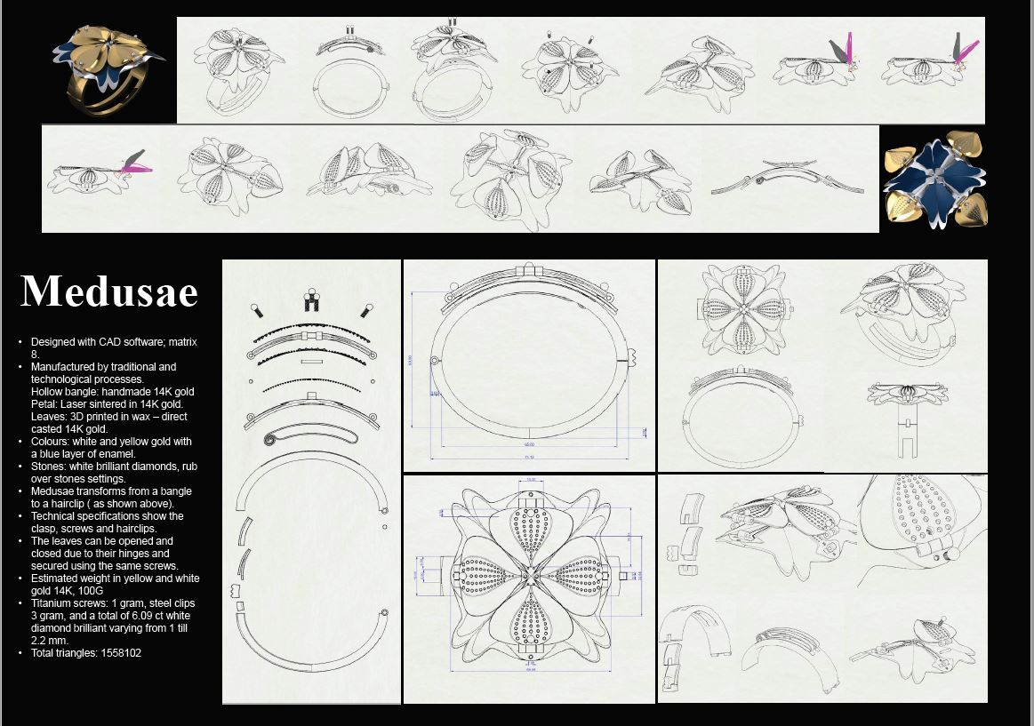Technical board for Medusae, multi purpose jewellery designed for Goldsmiths craft and Design Council awards.