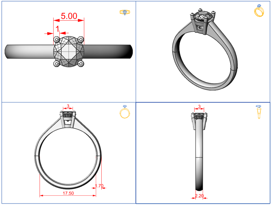 Technical drawing traditional ring.