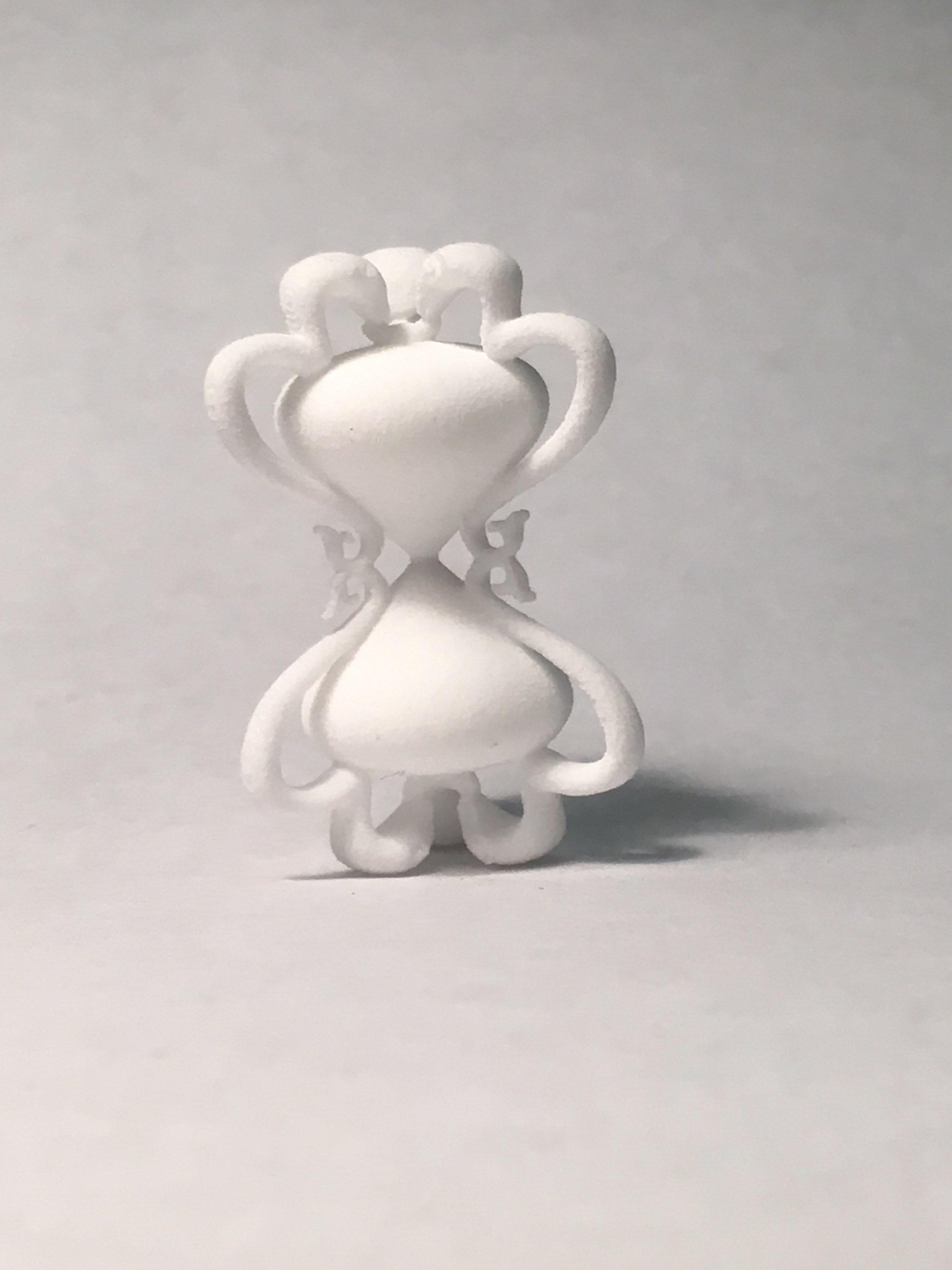 Nylon print from hourglass design.
