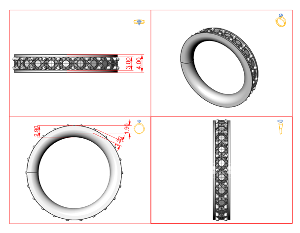 Technical drawing ring.
