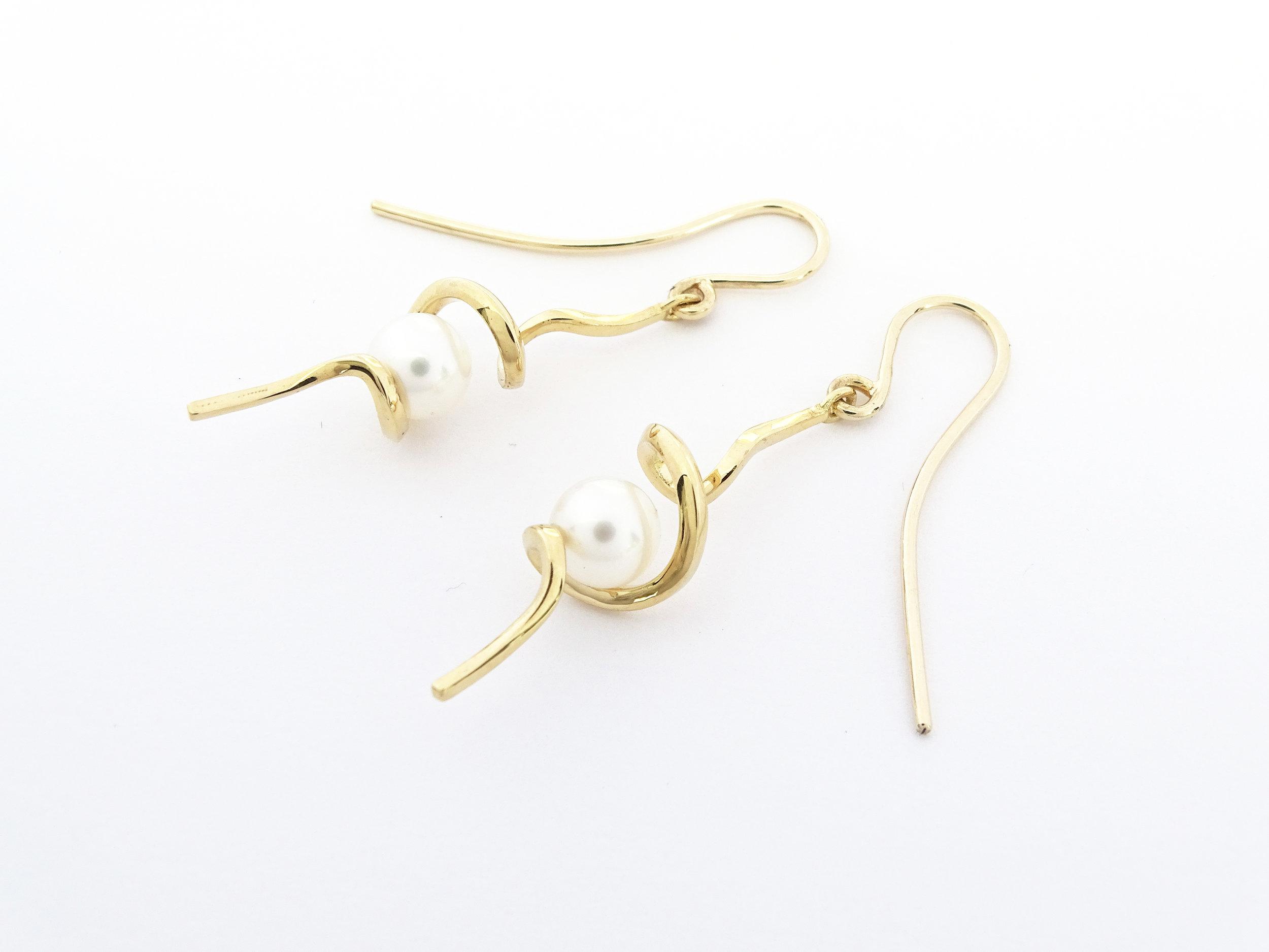 White pearl earring hooks