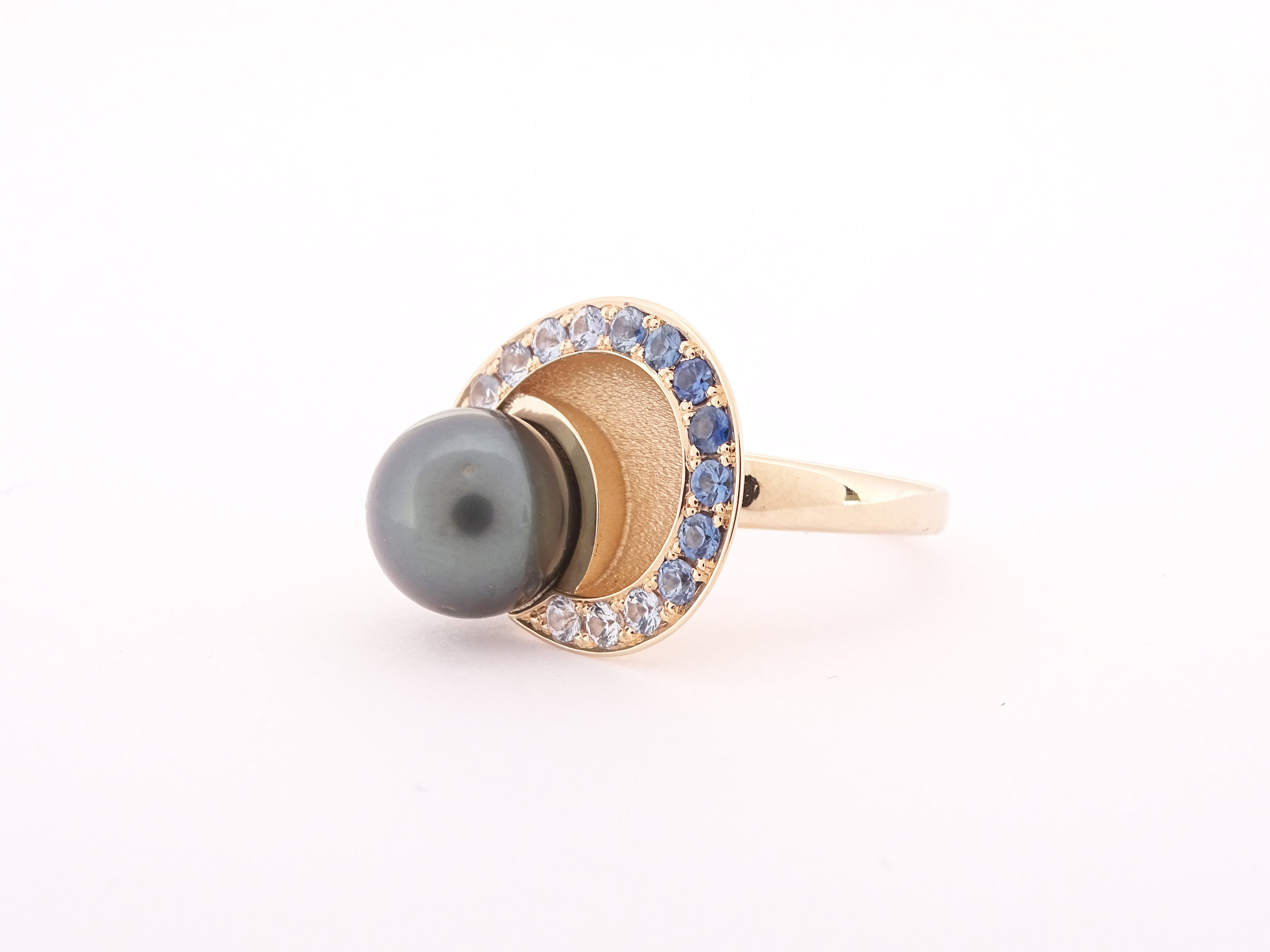 Pave and pearl ring