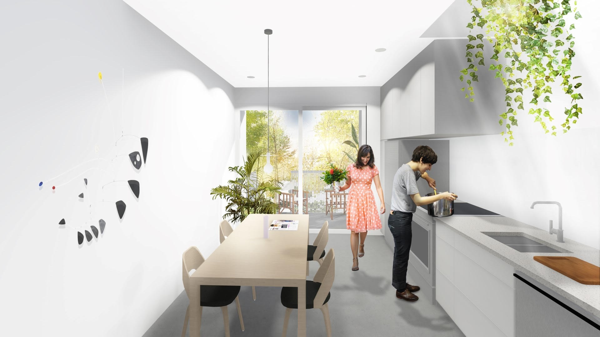 MEZZANINE A - 890 pi2- 2 chambres- 1 Salle de bain- Plan sur 2 étages- Toit-terrasse privé- Puit de lumière- Rangement à vélo extérieur