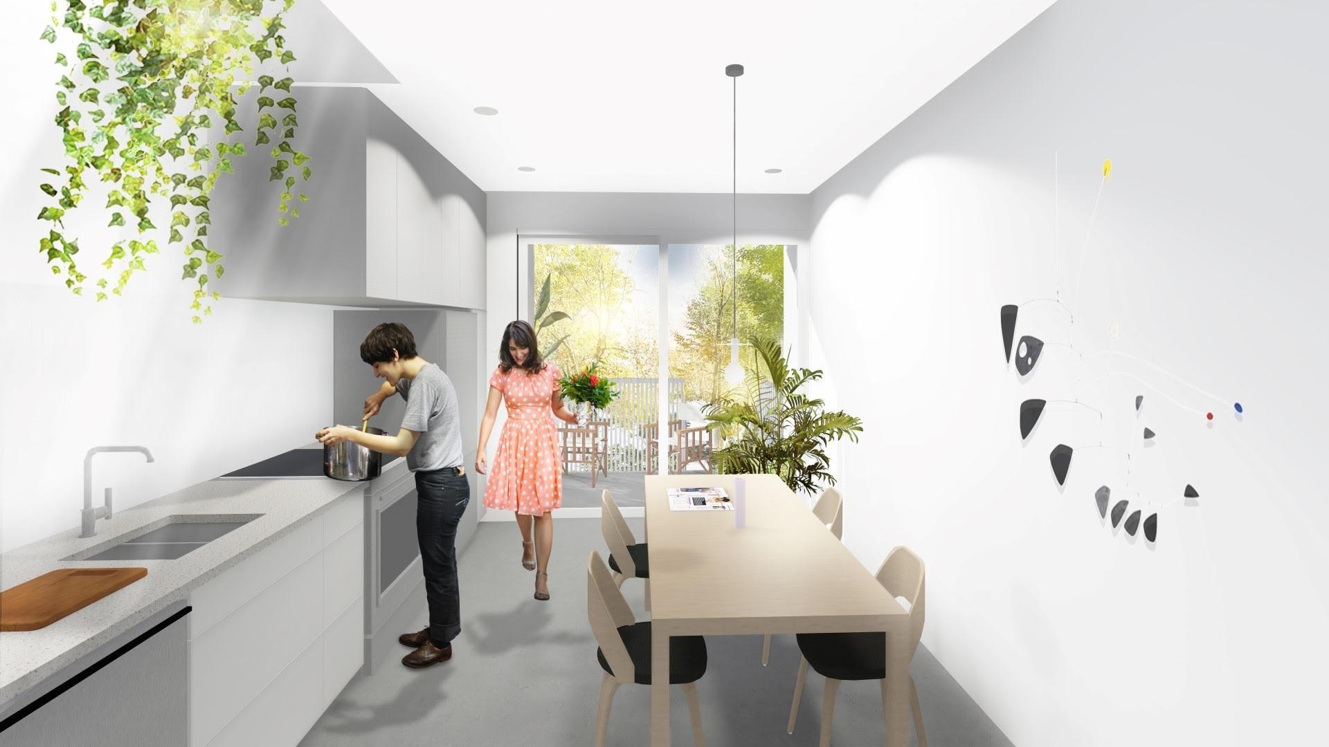 MEZZANINE B - 890 pi2- 2 chambres- 1 Salle de bain- Plan sur 2 étages- Toit-terrasse privé- Puit de lumière- Rangement à vélo extérieur