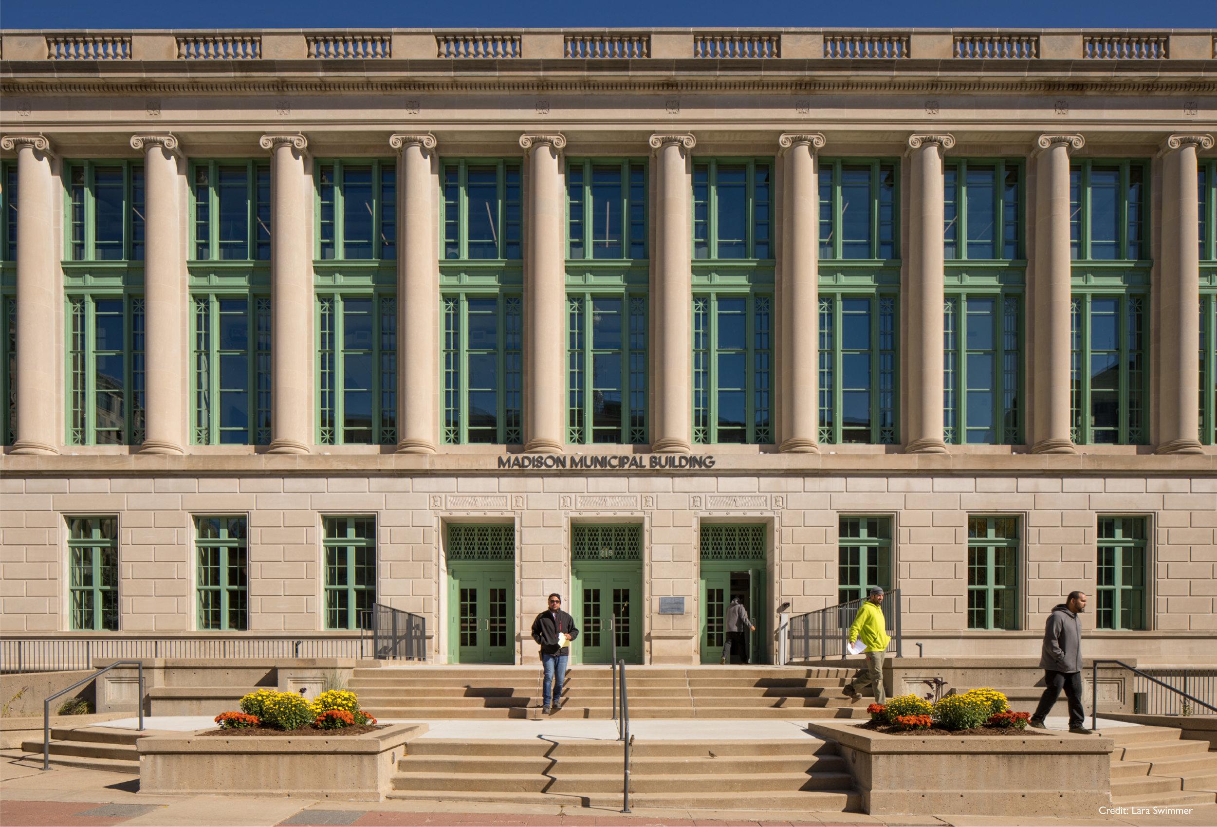 Photo of the Madison Municipal Building by Lara Swimmer