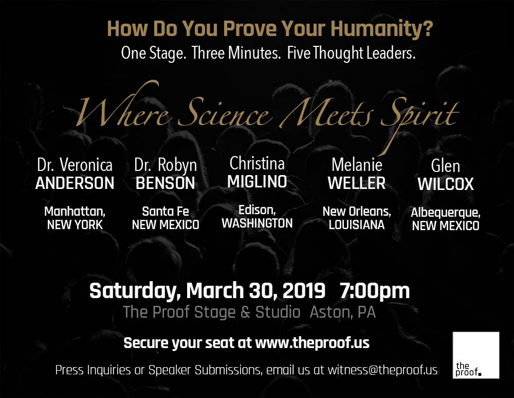 March 30, 2019 - Where Science Meets Spirit This night of healers is designed to reveal how medicine and soul care collide. We look forward to exposing you to these five amazing practitioners dedicated to the wholeness of the human existence.