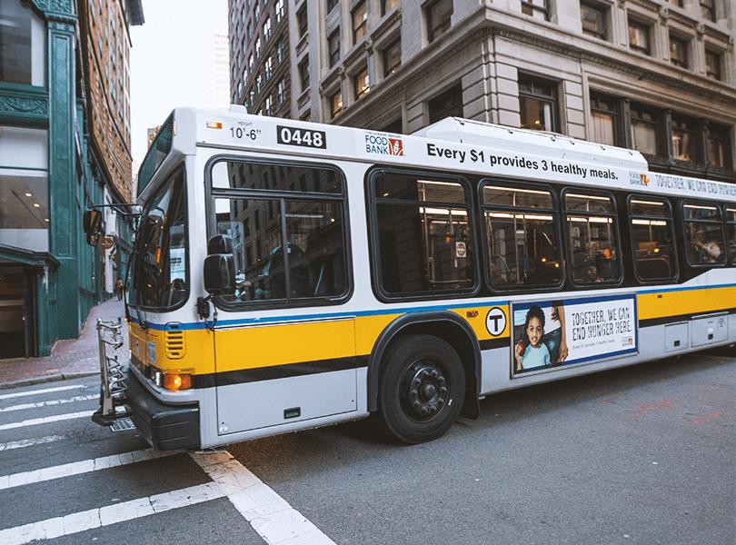 An MBTA bus in Downtown Boston