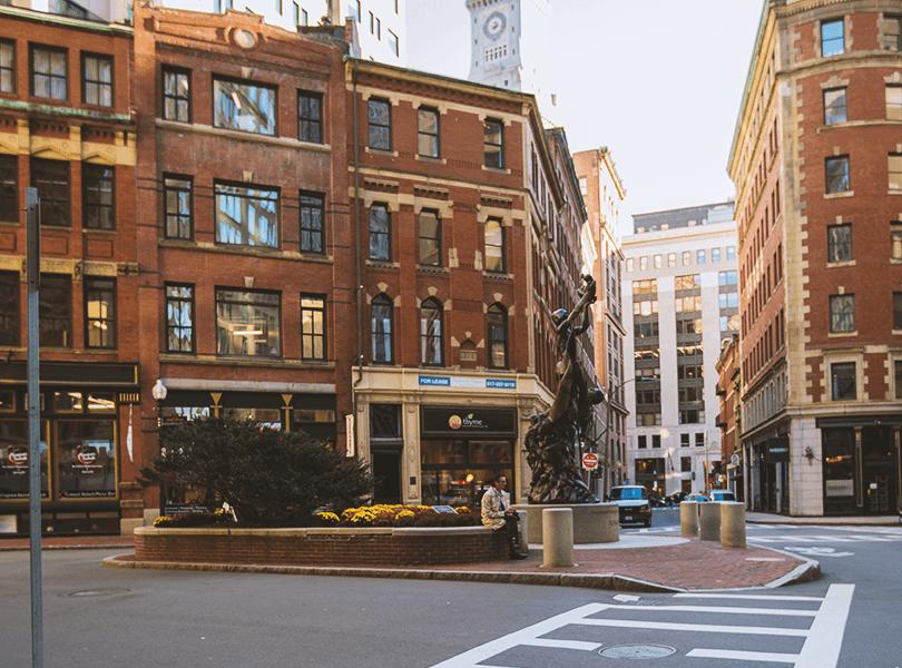 A street corner in Downtown Boston