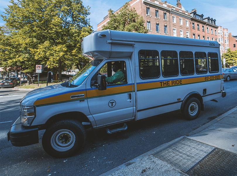 An MBTA para-transit vehicle
