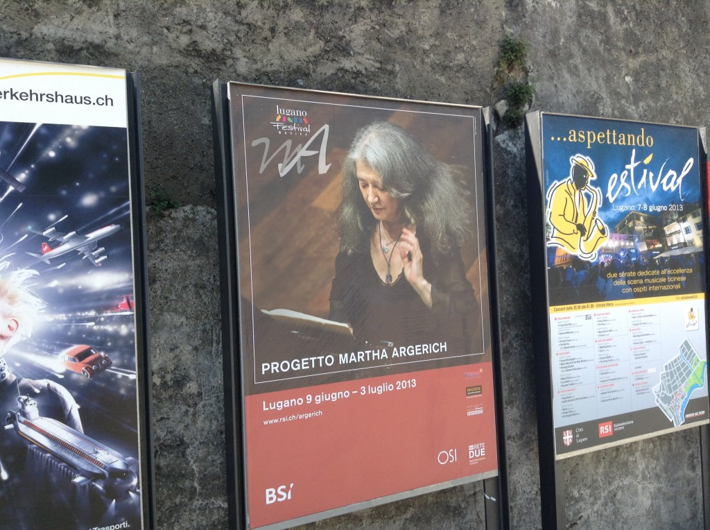 All around town and outside of Lugano, posters for the festival announce Martha Argerich