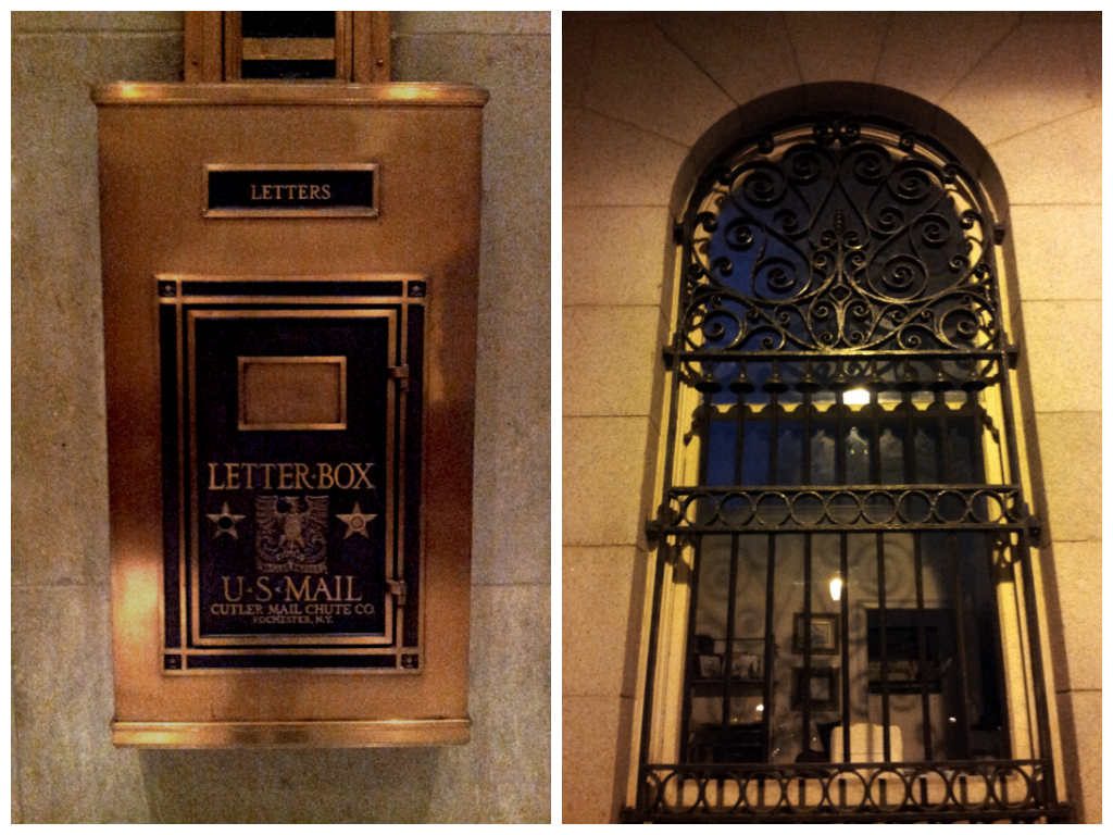 Art Deco mailbox and an iron window grill