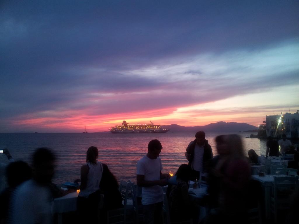Mykonos Sunset at dinner–no color correction