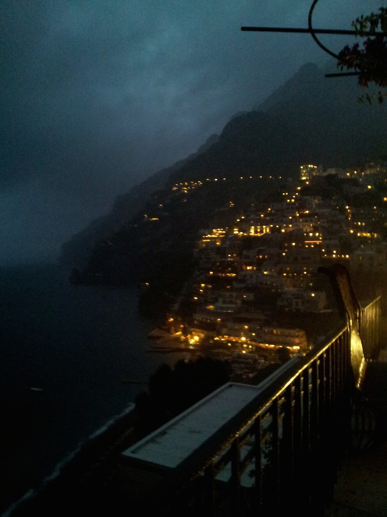 This is how Positano appeared every night in the storms–every evening they enveloped the enclave.
