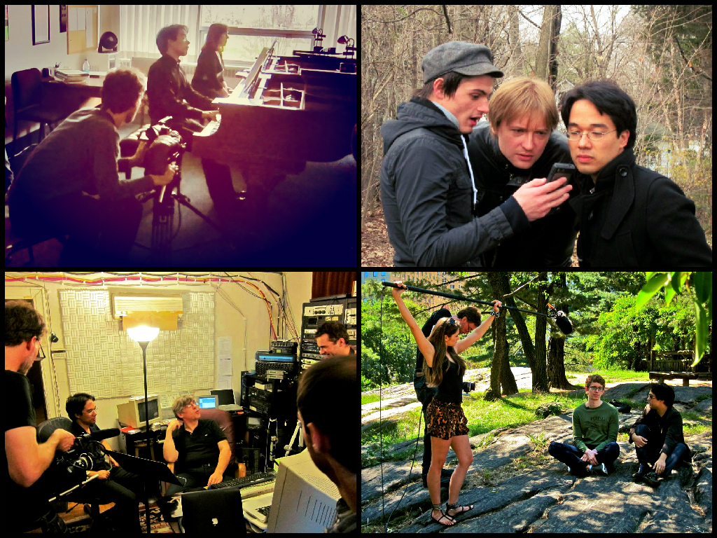 UL: filming the theme music (Beethoven) with Elizabeth DeMio. UR: with Dmitri Levkovich. LL: in the Bronx with record producer Joe Patrych. LR: the accidental first episode with cellist Joshua Roman