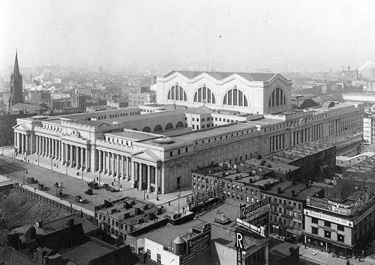 Built in 1910 by the famous architects McKim, Mead, and White, Pennsylvania Station was a masterpiece of the Beaux Arts style. Of enormous proportions, it took up two city blocks and was one of the largest public spaces in the world. It was the first station to divide travelers into arrivals and departures in two concourses.