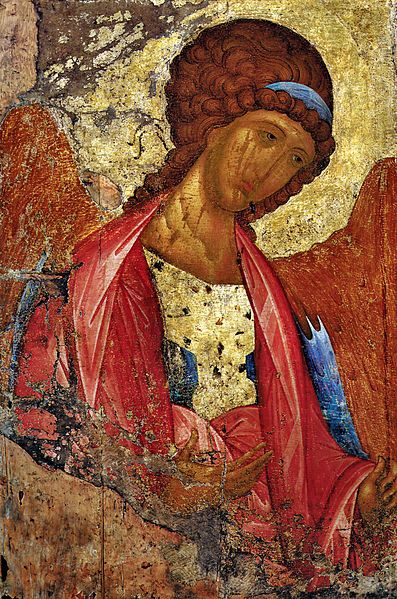 Perhaps the most famous Russian icon painter was Andrey Rublev, born in the 14th century. Here is his depiction of the Archangel Michael