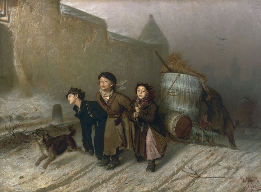 Troika (1866) by Perov–very much evokes the hardship of the people in Godunov