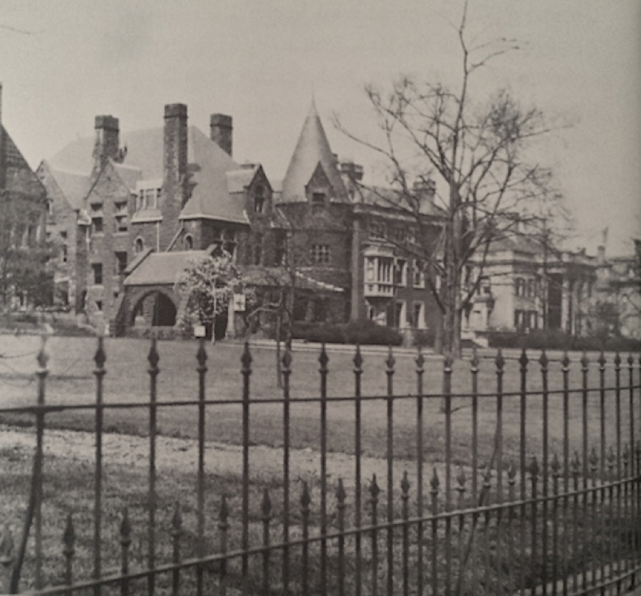 "The grandest of the mansions were between 20th and 40th streets and the stretch was known as ""Millionaire's Row"". It was so protected that the Euclid Avenue streetcar line was diverted around it. The residents all aspired to create the most beautiful setting possible. The Tudor revival Mather Mansion in the center is one of fewer than ten structures remaining today. It briefly hosted the Cleveland Institute of Music before the school moved to University Circle."