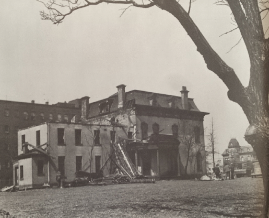 Demolition of the Rockefeller Estate at 40th street. To the northwest is the Beckwith mansion.