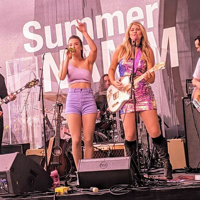 So great to get to be a part of @thenammshow again this year!  Thanks to all who came out, and new friends we got to make. And of course, we loved all of the pretty shiny things we go to look at 😍 @fender @taylorguitars  #stubbornwoman #stubbornwomanchallenge . . . . . . . . . . . #livemusic #namm #summernamm #purple #twinning #girlswithguitars #wonderwoman #countrymusic #countryduo #nextwomenofcountry