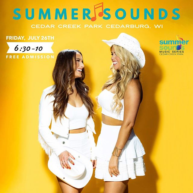 Wisconsin, we're comin' for ya this weekend!  Headlining @summersoundscedarburg Friday, July 26th. Music starts at 6:30, we're on at 8!  Can't wait to see y'all there! 💛 . . . . . . . . . . . . . #livemusic #countryduo #countrymusic #newmusic #monochromatic #cowgirl #cowboyhats #cowgirlfashion #nextwomenofcountry