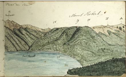 Sketch of Mt Roberts and the lake by Haast in 1860. (Alexander Turnbill Library)