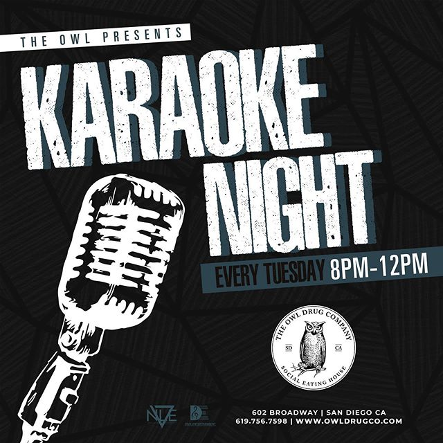 The people have spoken! 🗣 The Owl Presents #KaraokeNight 🎤 - Come join us Tuesday's from 8-12 and sing your little heart out all while enjoying great food 🍴 drinks 🍹 and vibes ✨ - Tag a karaoke superstar in the comments! 🌟 See you Tuesday! 🦉#TheOwlDrugCompany #TheOwl #OwlKaraoke #SanDiegoKaraoke