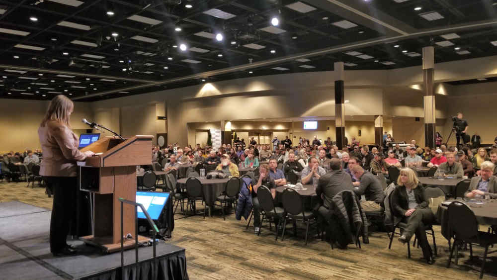 Sask Wheat Chair Laura Reiter speaks at the Seed Royalty Consultation at CropSphere 2019 on January 16