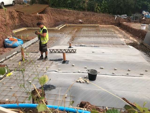 Jools O'Brien team getting ready to pour concrete for the base - Aug 2019