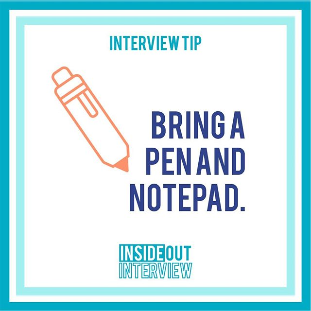 ‪Always bring a pen and notepad to your jobinterview! 📝 Not only is it a good place to keep your questions, it's a good place to take note of the answers! 🖊 It's just as important to interview your future employer to see if the job is a good fit for you. 🙌‬