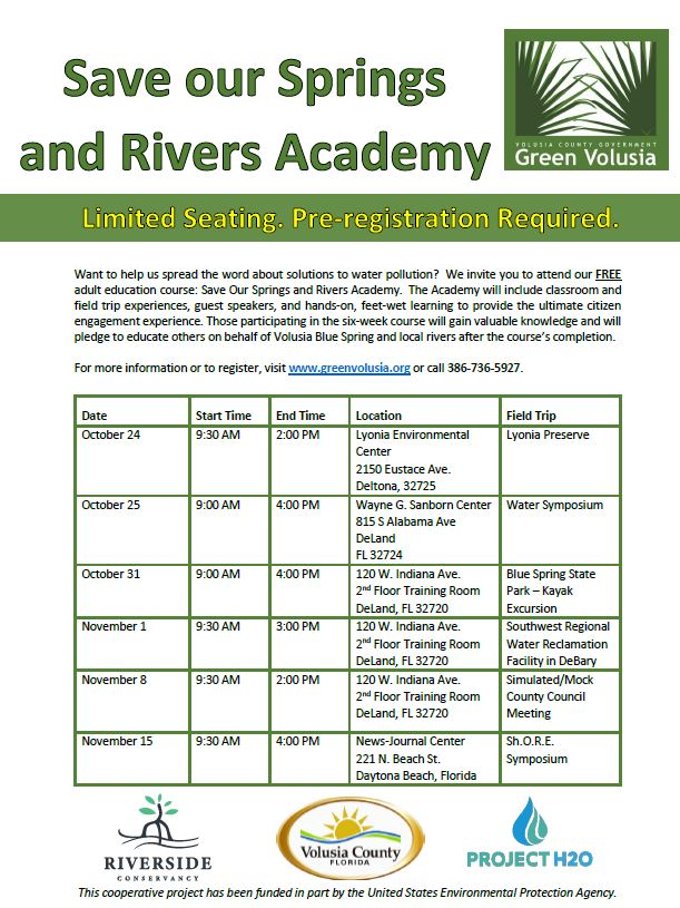 Download The application. - The free adult education course will be held Oct. 24, 25 and 31 and Nov. 1, 8 and 15. The Oct. 24 class will be held at Lyonia Environmental Center, 2150 Eustace Ave., Deltona. On Oct. 25, the group will take part in a water symposium at the Wayne G. Sanborn Center, 815 S. Alabama Ave., DeLand. The Nov. 15 class will participate in the ShORE. Symposium at the News-Journal Center in Daytona Beach. All other classes will be held in the second-floor training room of the Historic Courthouse, 120 W. Indiana Ave., DeLand.The academy is funded in part by the U.S. Environmental Protection Agency.