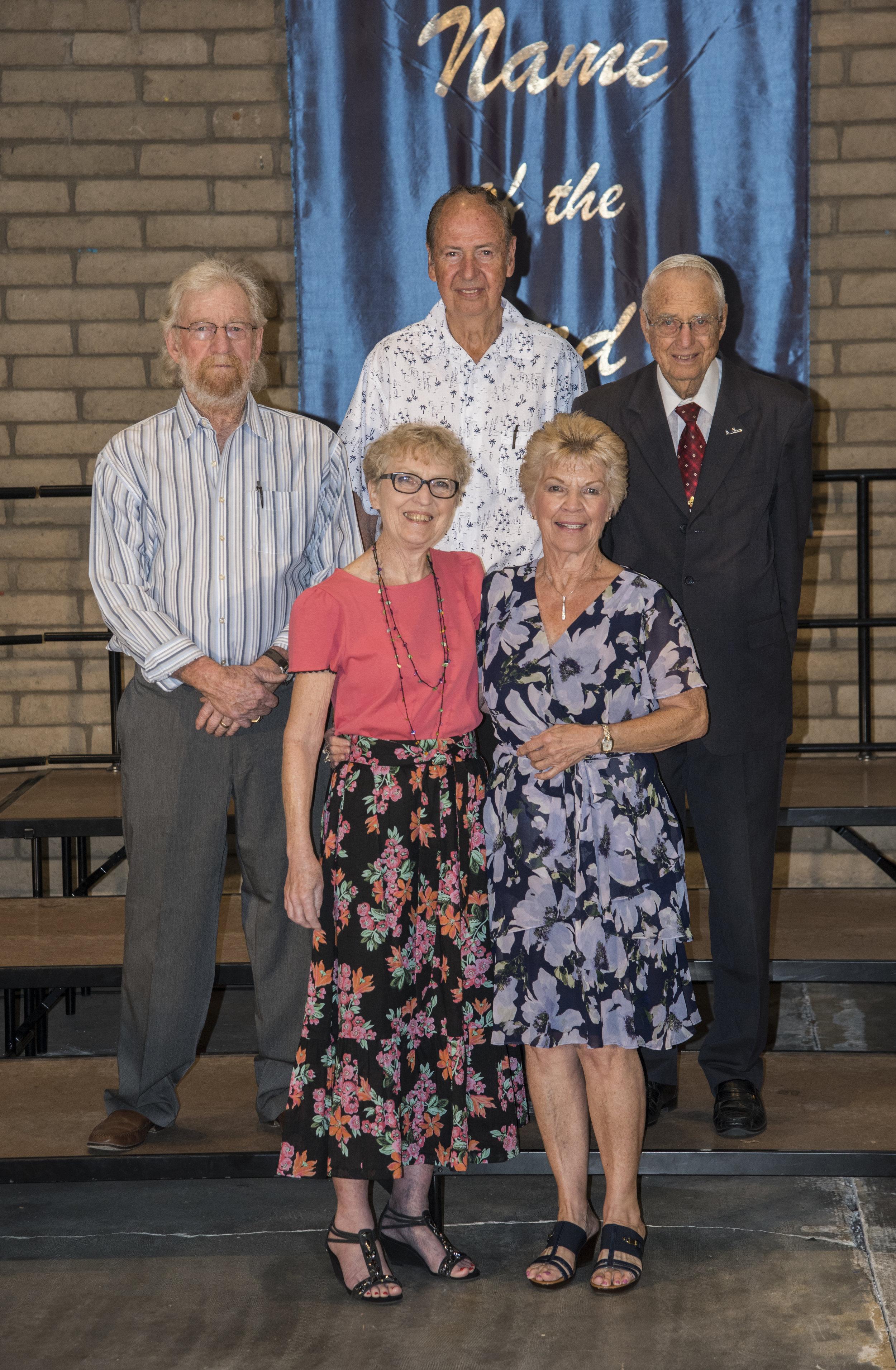 Class of 1959 - Front Row: Patty Yingling Muncy & Eunice Hummell ZuFeltBack Row: Bill Jordan, David Reidlinger & W. Daniel Walter
