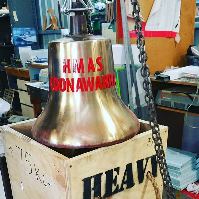 Finished bell with brass lettering fitted and painted ready to go to its ship. #engraving #bell #brass #bronze #brassbell #lettering #navy #royalaustraliannavy