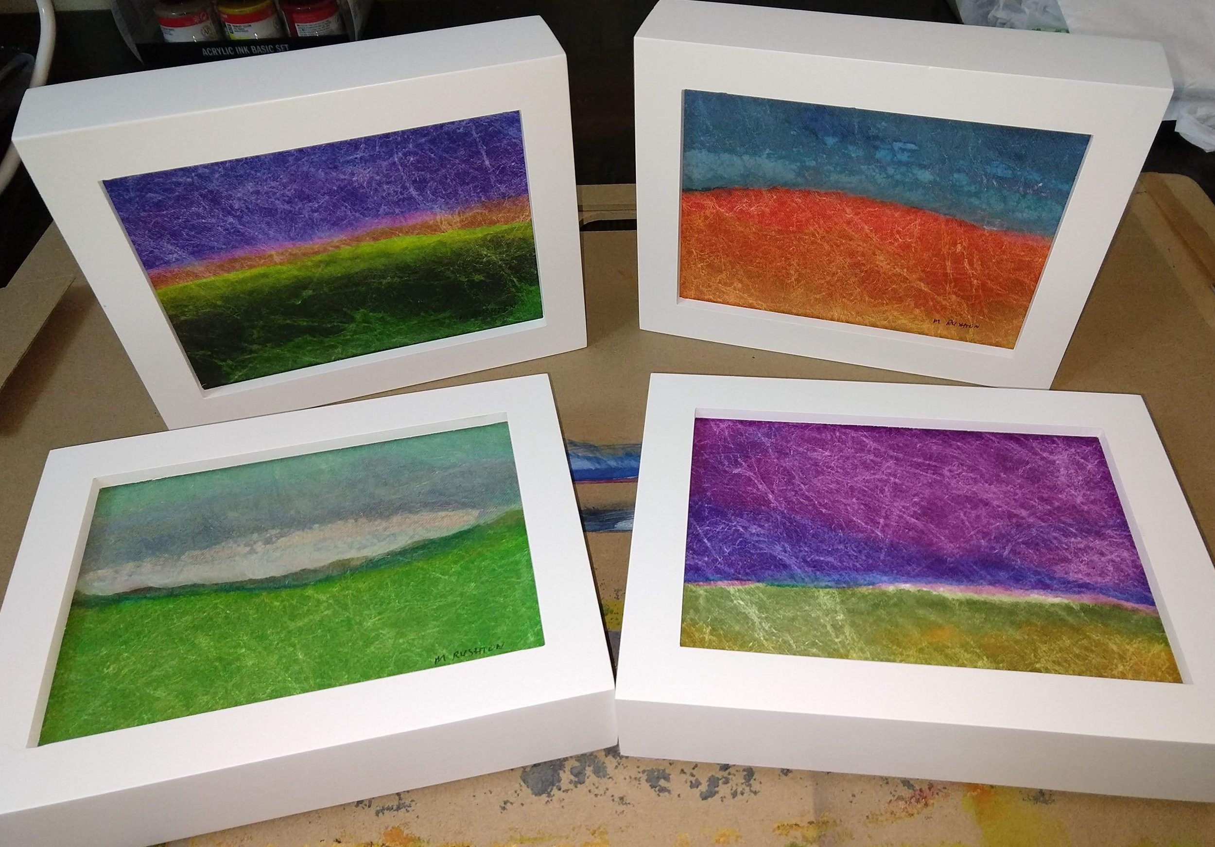 Finished and framed 5 x 7 inch paintings