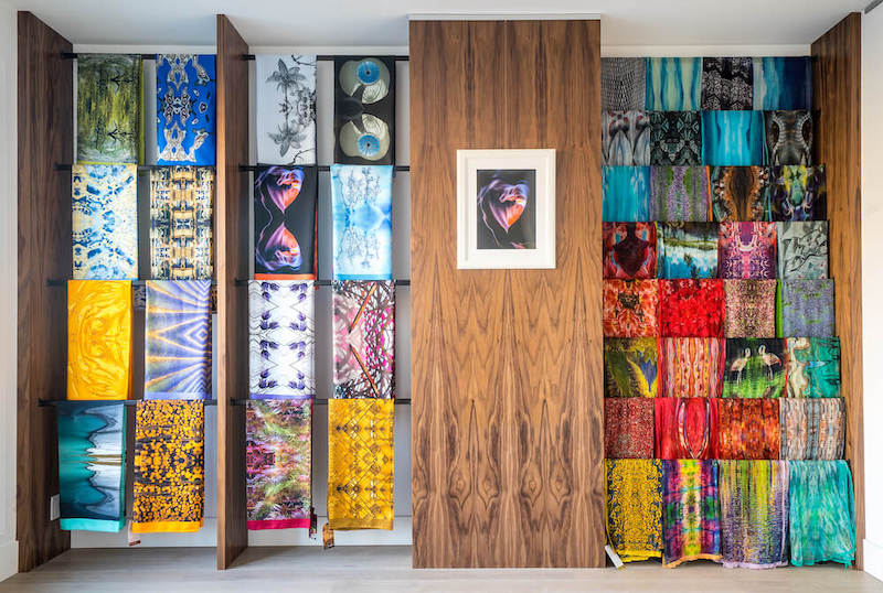 Discover our Wall of Scarves - Our Wall of Scarves is located in our Calgary Showroom at 537–23 Avenue SW. Open Wednesday evenings from 4 – 6pm or by Appointment. Please check our Events page to choose your date and RSVP.