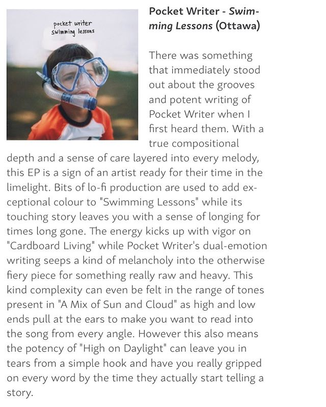 Thanks to @ottawalifemag for their awesome review of my album! #pocketwriter #swimminglessons #albumreview #ottawalifemagazine #ottawamusic #ottawa #newalbum #ep #sinkorswim