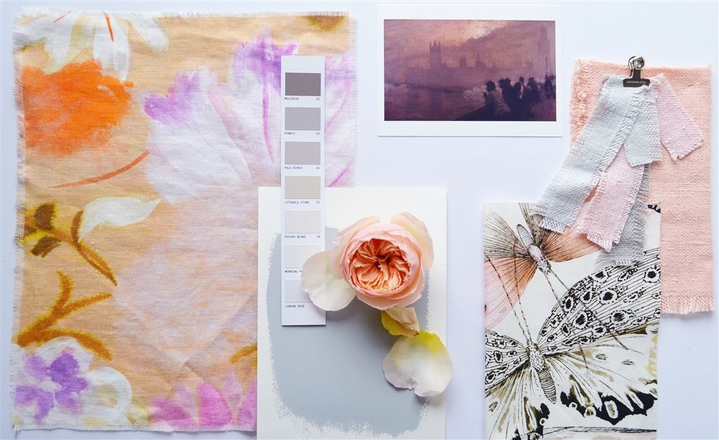 SUNSET GARDEN - A wonderfully inky rendering of flowers, this inspired 100% linen references iconic Impressionist artistry…