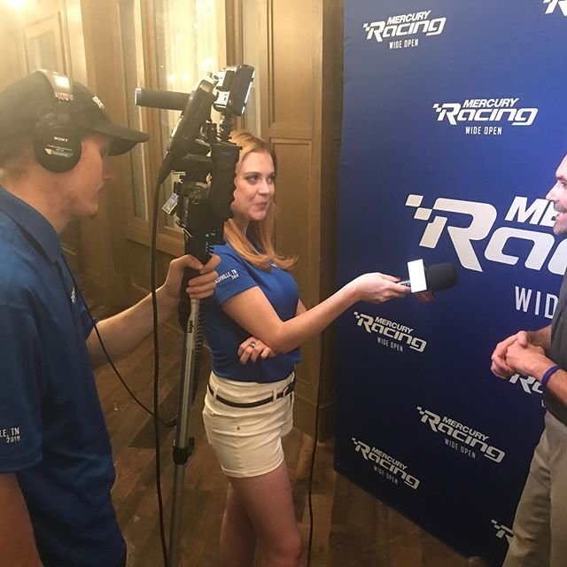 Interviewing the wonderful team @mercuryracing ! #boats #mercuryracing #cruisinwithkendra #work #performance #boat #speed #fastboats #outboard #engines