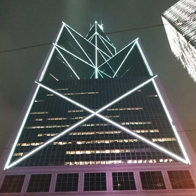 Bank of China in Hong Kong at night
